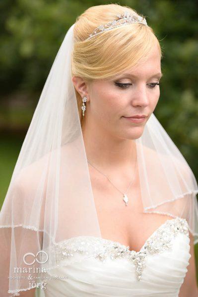 Foto der Braut bei einer Hochzeit auf Schloss Rauischholzhausen bei Marburg
