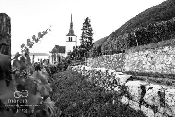 Marina und Joerg, Fotografen-Paar aus Giessen: Hochzeit in der Kirche Ligerz am Bielersee