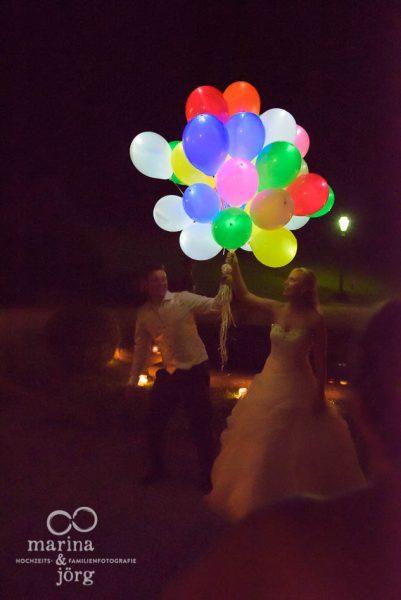 Luftballonaktion bei einer Hochzeit bei Marburg