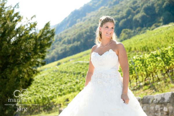 Marina und Joerg, Hochzeitsfotografen Giessen: Brautfoto bei einer Hochzeit in Ligerz am Bielersee